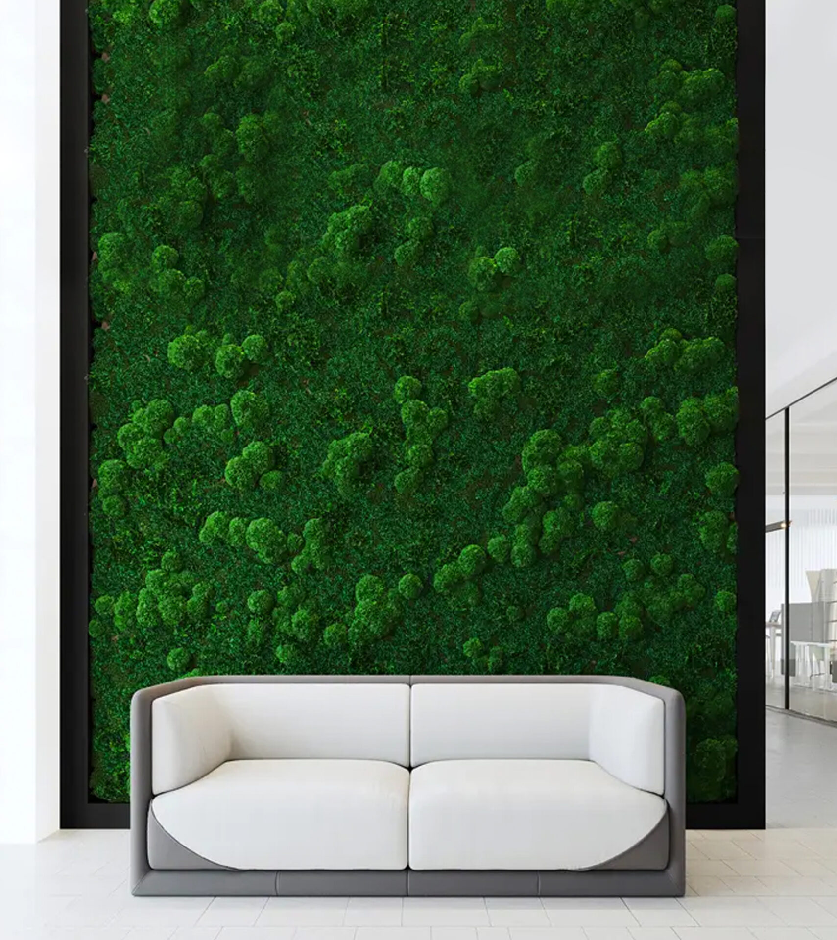 Quiet Earth Moss: full wall green spaces with acoustical value.