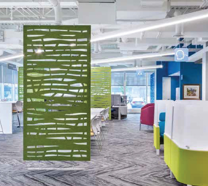 Divide your spaces in style by hanging acoustic ezoBord panels