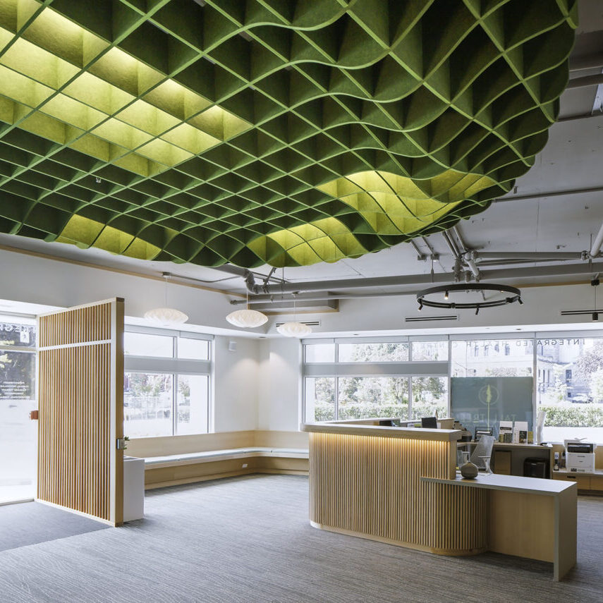 ezoBord acoustic ceiling panels add a visual wow factor to any space while absorbing residual noises.