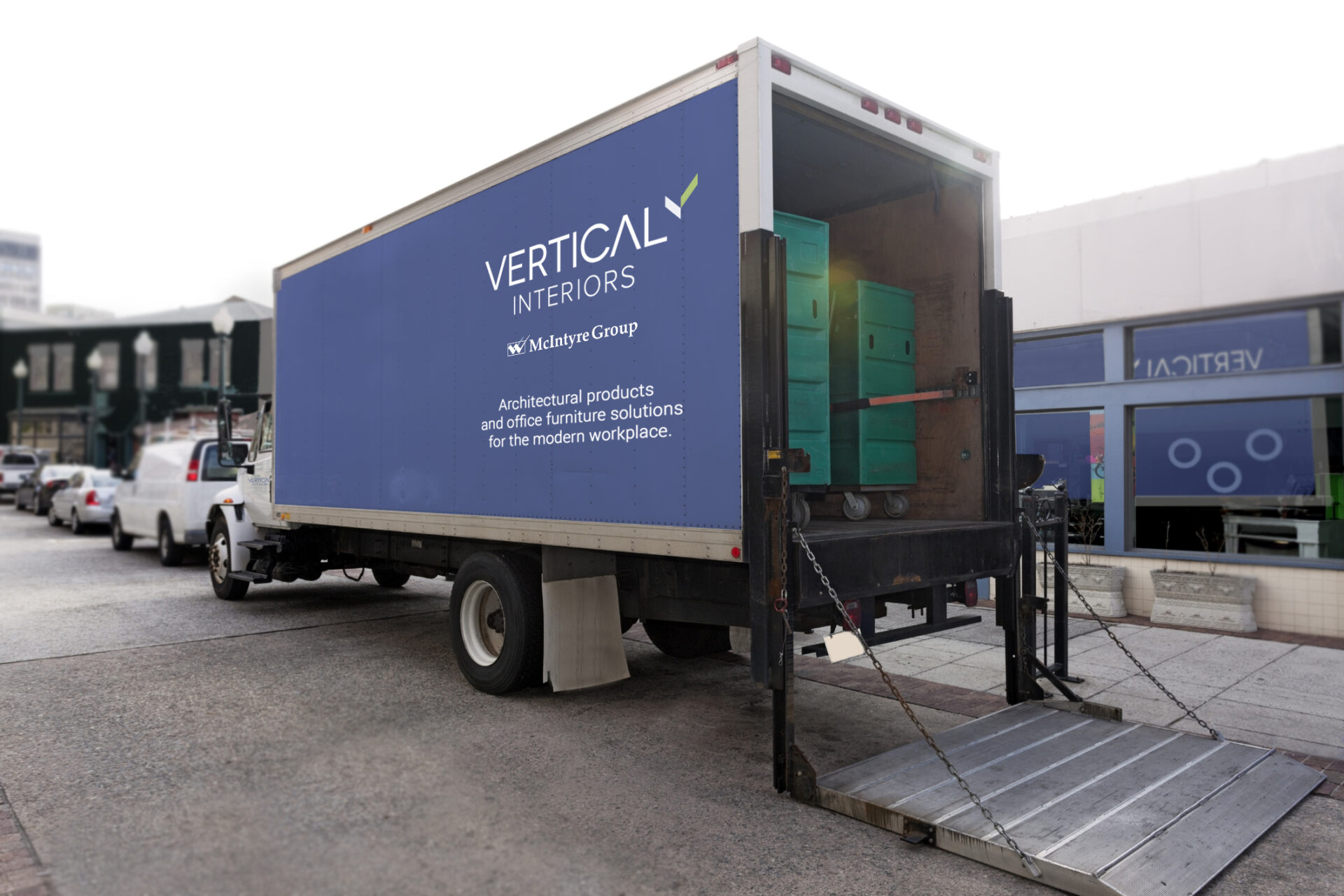 Vertical and McIntyre Group have it's own fleet of vehicles ready to get to your door.